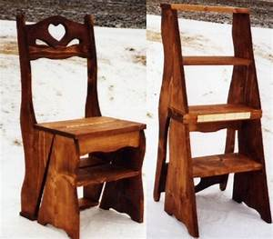 PDF Plans Amish Solid Wood Library Step Stool Chair Combo