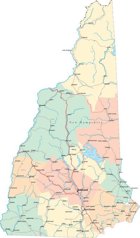 New Hampshire Road Map Nh Road Map New Hampshire