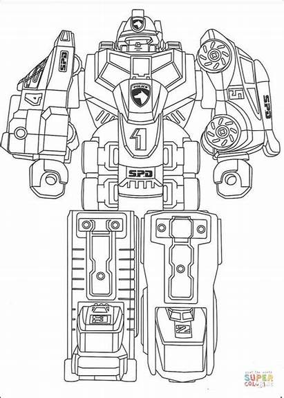 Coloring Pages Standing Megazord Robot Drawing Printable