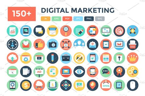 Marketing Free by 150 Flat Digital Marketing Icons Icons Creative Market