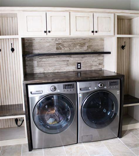 Glazed Antique White Laundry Room Cabinets