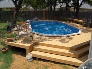 Above ground pool deck ideas from wood for relaxation area for Above pool deck designs