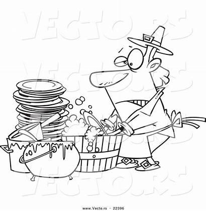 Dishes Cartoon Coloring Washing Outline Barrel Leishman