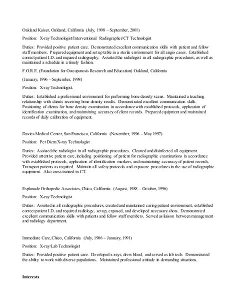 Mri Tech Resume Objective by Paul Vidrio S Resume