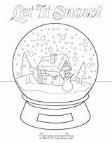 Coloring Snow Globe Let Printable Globes Colouring Winter Favecrafts Snowman Sheets Printables sketch template