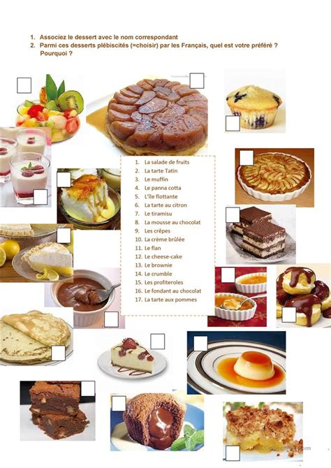 les desserts les moins caloriques les desserts pr 233 f 233 r 233 s des fran 231 ais fiche d exercices fiches p 233 dagogiques gratuites fle