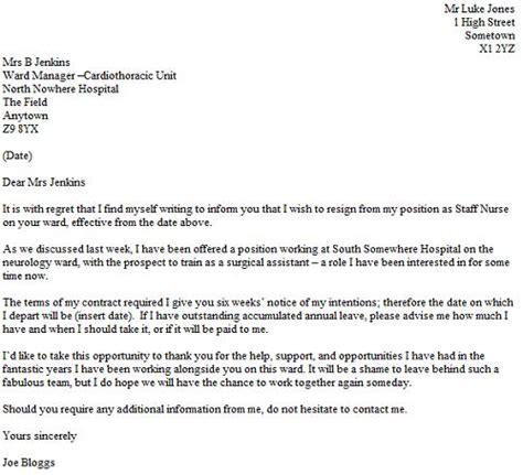 resignation letter    nurse resignletterorg