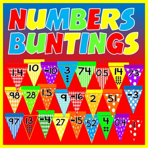 Numbers Buntings  Display 10100 Decimals Negative Numbers Early Years Ks12 By Hayleyhill