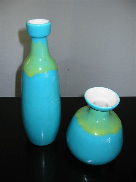 Green Vases For Sale by Modern Blue Ceramic Vases Green Accent Various Sizes For