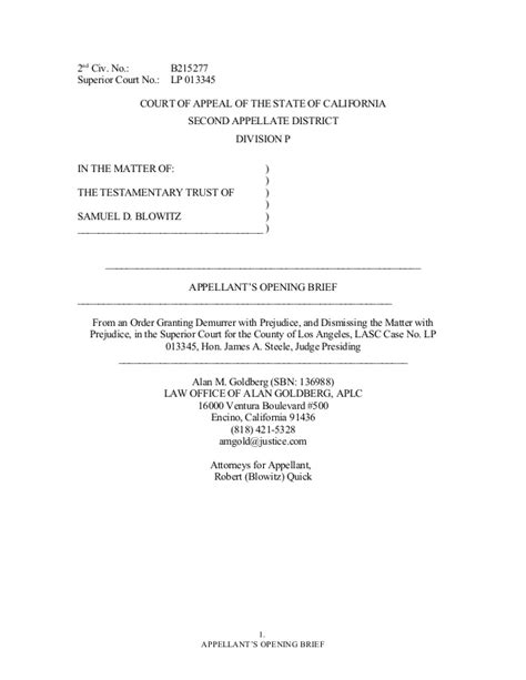 Trial Brief Pages Template California writing sle opening brief quick