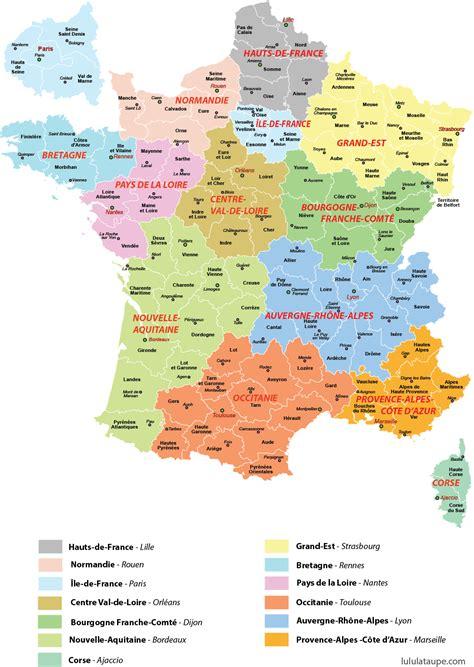 Carte De à Imprimer Avec Villes by Carte Des 13 R 233 Gions De 224 Imprimer D 233 Partements