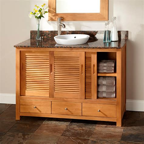 arrey teak vanity  semi recessed sink natural