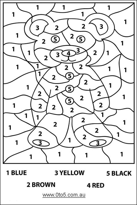 Coloring With Number by Harder Color By Number Page Preschool Teddy