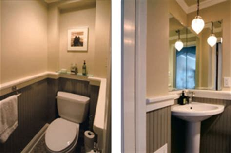 Out Swinging Door Makes Small Powder Room Bigger