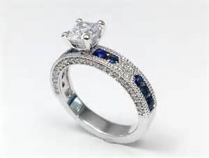 engagement ring cushion cut vintage engagement ring blue sapphire accents es739cu - Engagement Rings With Sapphire Accents