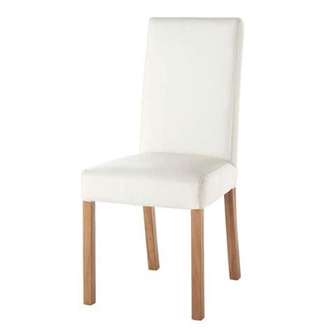 chaise imitation cuir blanc rotterdam maisons du monde