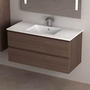 Meuble Vasque 100 Cm : meuble de salle de bain cardo en noyer ~ Edinachiropracticcenter.com Idées de Décoration