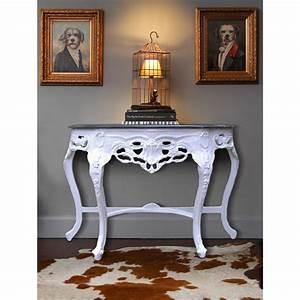 Console Baroque Noire : console de style baroque en bois laqu blanc et marbre noir ~ Teatrodelosmanantiales.com Idées de Décoration