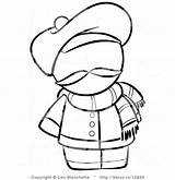 Coloring Scarf French Person Hat Outlined Template Blanchette Leo Winter sketch template