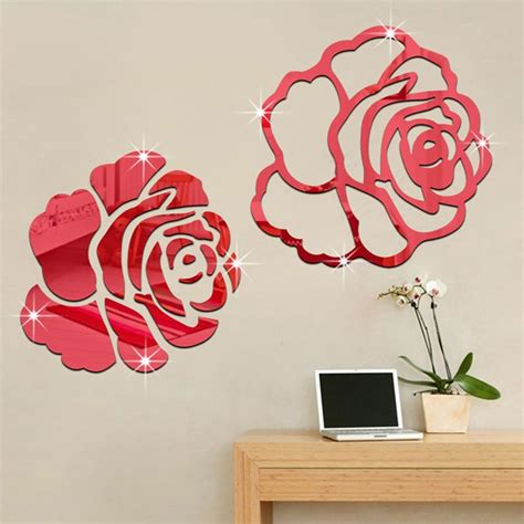 rose flower  mirror wall stickers diy home decor living