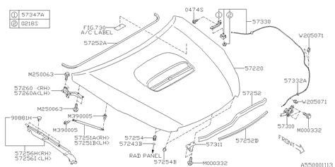 book repair manual 2012 subaru outback spare parts catalogs 57229aj01a9p genuine subaru hood complete front b