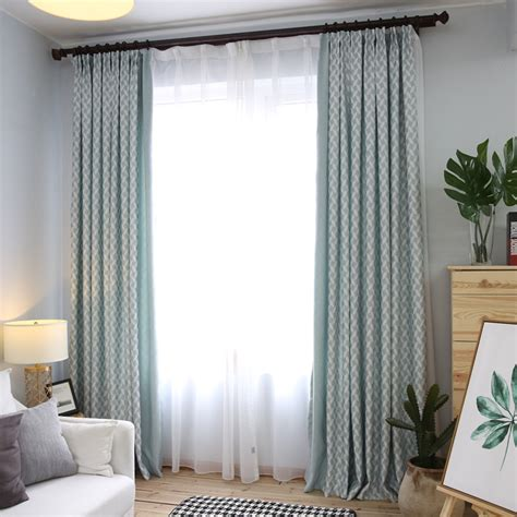 Sage Green Patterned Floor To Ceiling Modern Bedroom Curtains