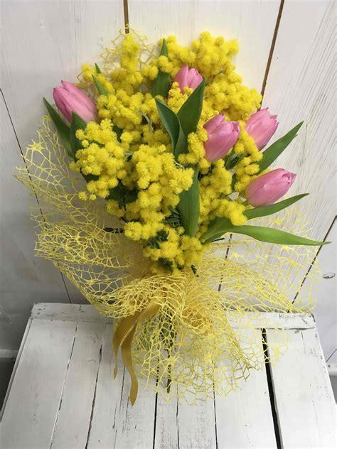 fiori e mimose bouquet di tulipani con mimosa fiorista cilloni reggio