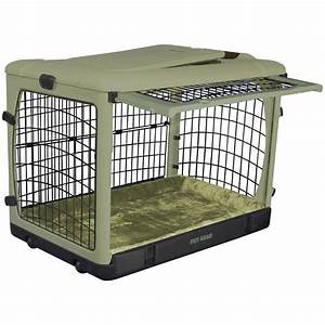 pet gearr the other door steel crate with plush pad With plastic folding dog crate