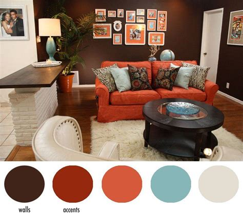 Burnt orange and brown living room | layjao. hotel chic design DIYs seen on Home Made Simple | Living ...