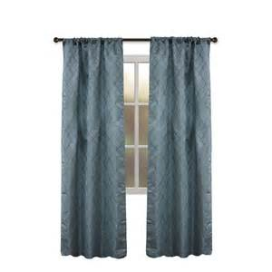 shop allen roth bannerton 63 in slate blue polyester rod pocket single curtain panel at lowes