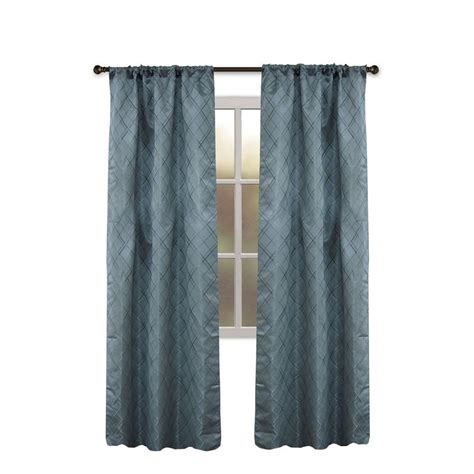 Allen Roth Curtains Blue shop allen roth bannerton 63 in slate blue polyester rod