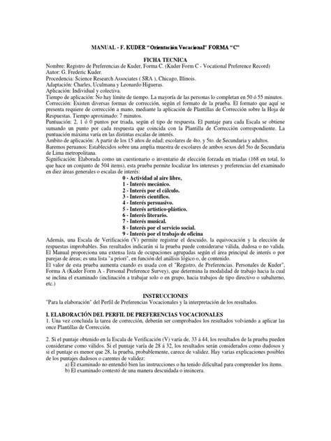 Kuder Resume by Kuder Occupational Interest Survey Pdf