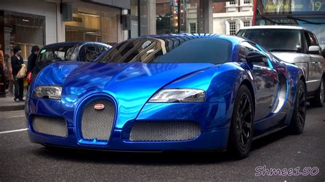 Bugatti Veyron Blue by Blue Chrome Bugatti Veyron Centenaire Driving In