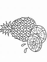 Pineapple Coloring Pages Fruits Print Printable Recommended sketch template