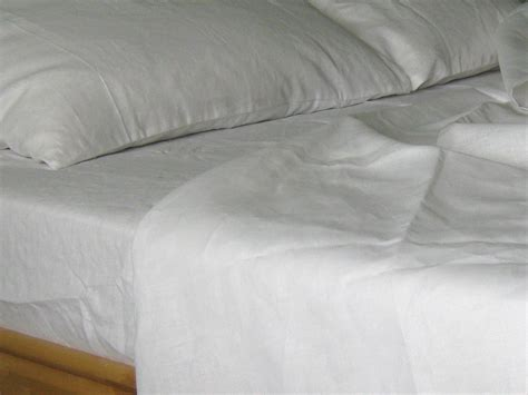 Organic Queen Linen Sheets Set White 100% Pure Natural Flax