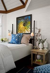 sullivan39s island beach house beach style bedroom With floor lamp next to bed