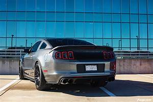 Charcoal Gray Ford Mustang 5.0 5th Gen S197 - Forgestar F14 Wheels - Matte Black