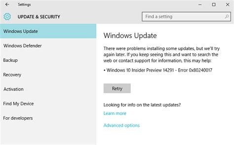 how to fix windows update error 0x80240017 on windows 10