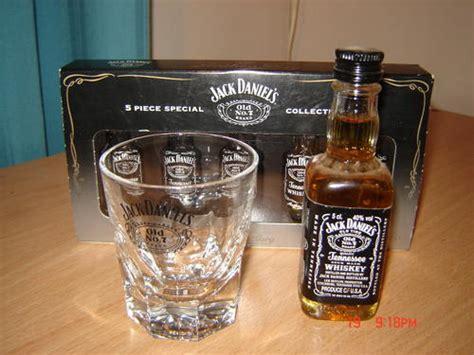 Jack Daniels Glass, Small Bottle And Chocs Was