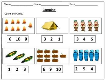 camping counting worksheets    kids learning