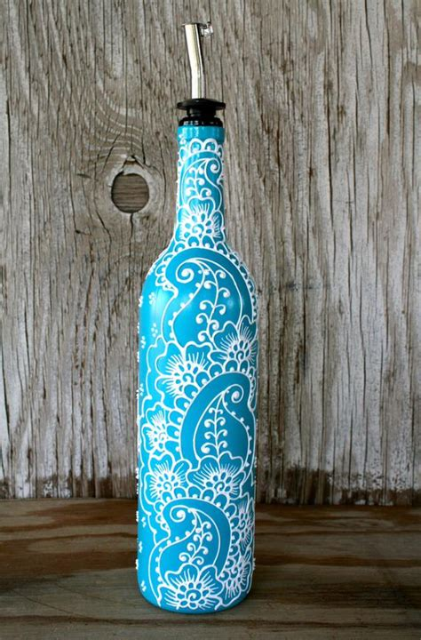 hand painted wine bottle olive oil pourer turquoise