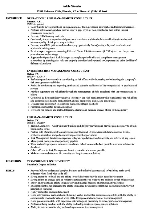 Management Consultant Resume by Risk Management Consultant Resume Sles Velvet