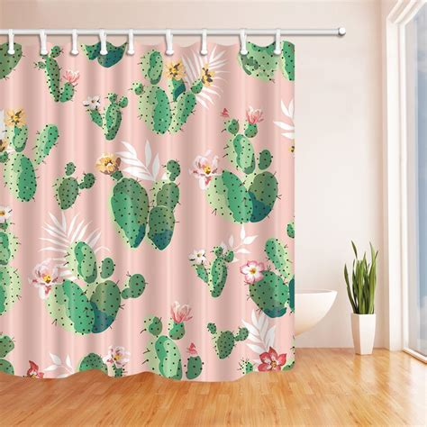 Cactus Shower Curtain - prickly plants cactus flower shower curtain fabric