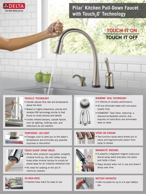 delta touch faucet light not working delta pilar single handle pull sprayer kitchen faucet