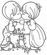 Kissing Precious Moments Couple Coloring Pages Kiss Cute Printable Boy 為孩子�的�色頁 sketch template