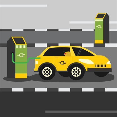 Electric Car Search by Electric Car Charging Free Vector Stock