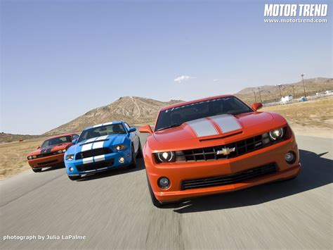 Camaro Vs Mustang Wallpaper by Chevrolet Camaro Dodge Challenger Shelby Mustang Front