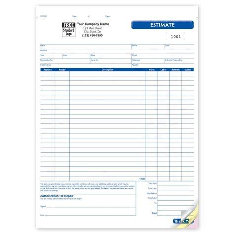 car repair estimate form collision repair estimate form