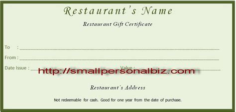Restaurant Gift Certificate Template by 7 Best Images Of Make Your Own Gift Certificate Printable