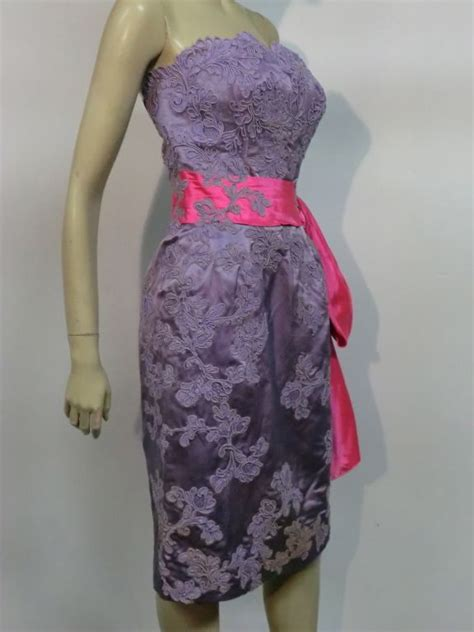 Neiman Marcus 50s Lilac Lace and Fuchsia Silk Strapless ...